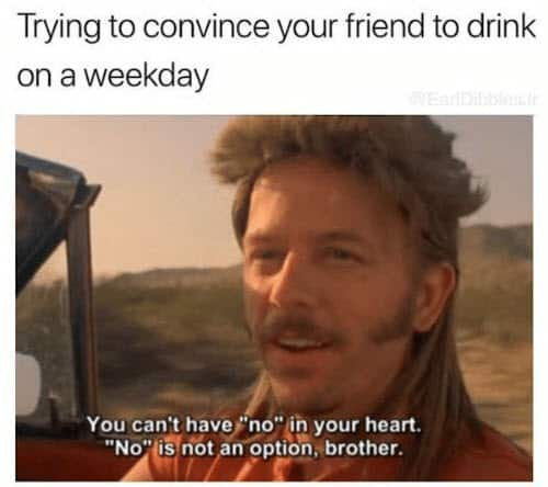 drinking trying to convince your friend meme