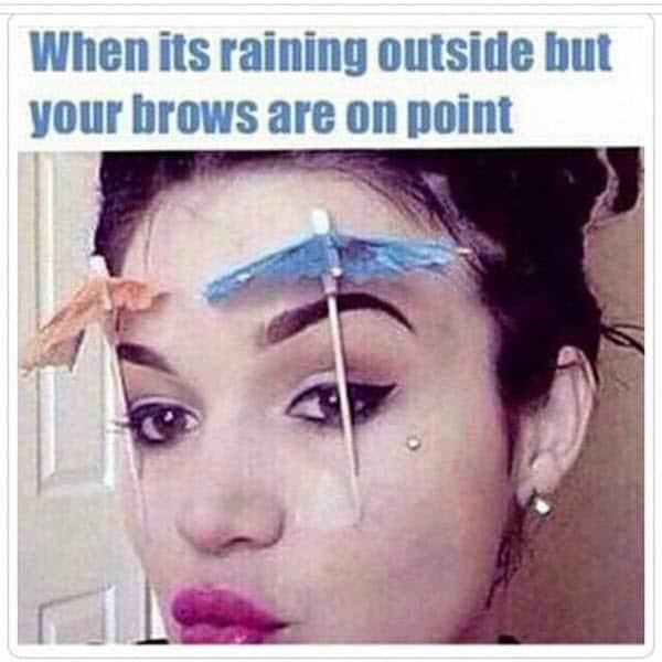 eyebrow raining outside meme