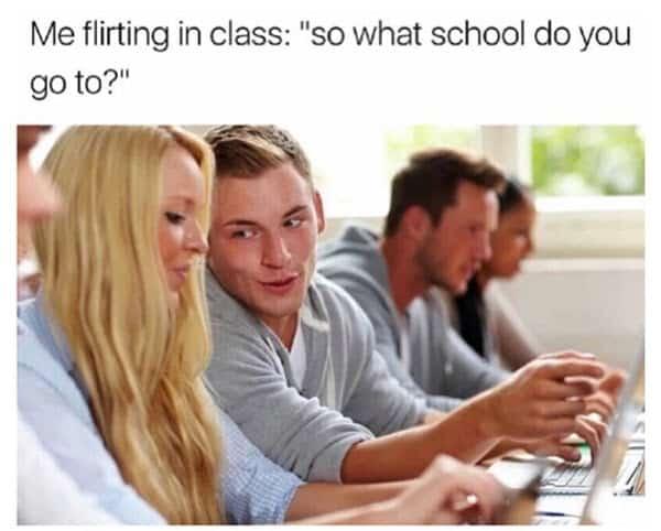 flirting in class meme