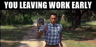 forrest grump running leaving work meme