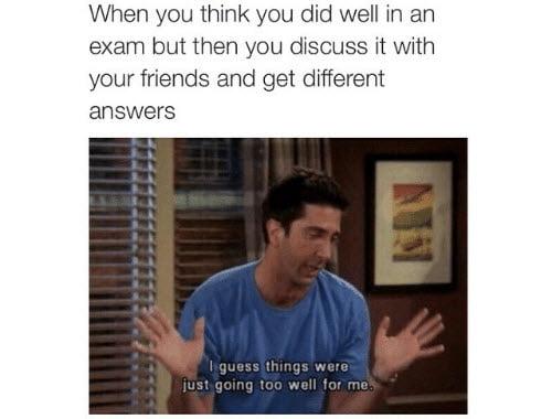 friends exams meme