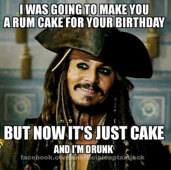funny birthday rum cake memes