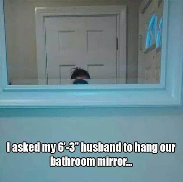 funny husband bathroom mirror memes