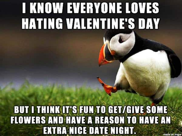 funny loves hating valentines meme
