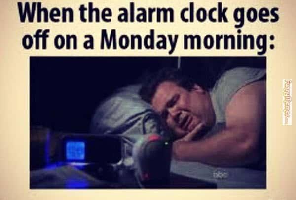 funny monday alarm meme
