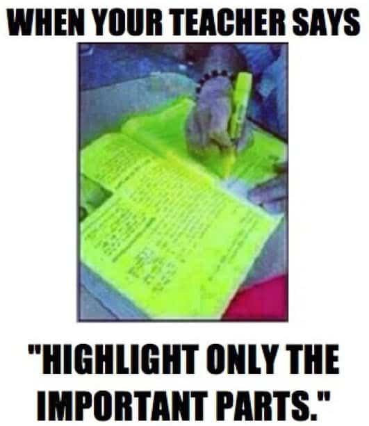 funny school highlight memes