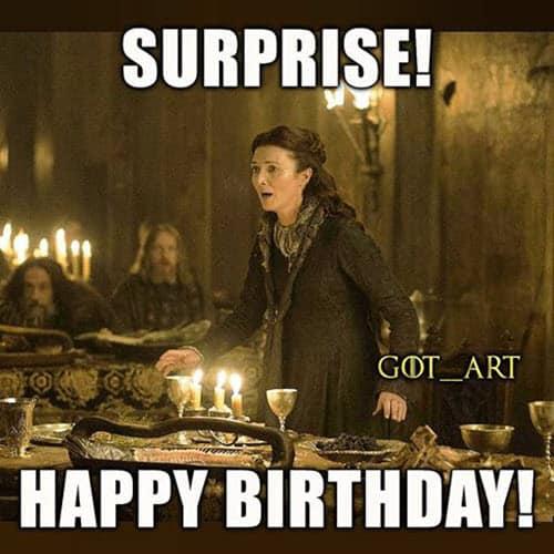 game of thrones birthday surprise meme