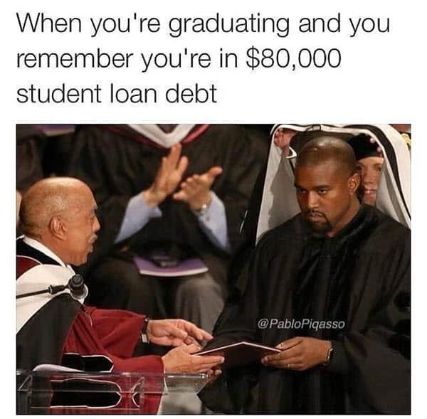 graduation student loan debt meme