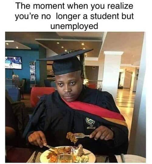 graduation unemployed meme