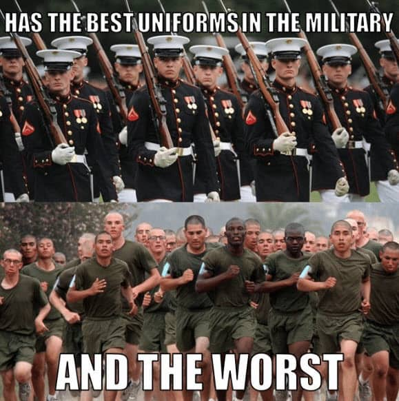 has the best uniforms in the military and the worst marine corps memes