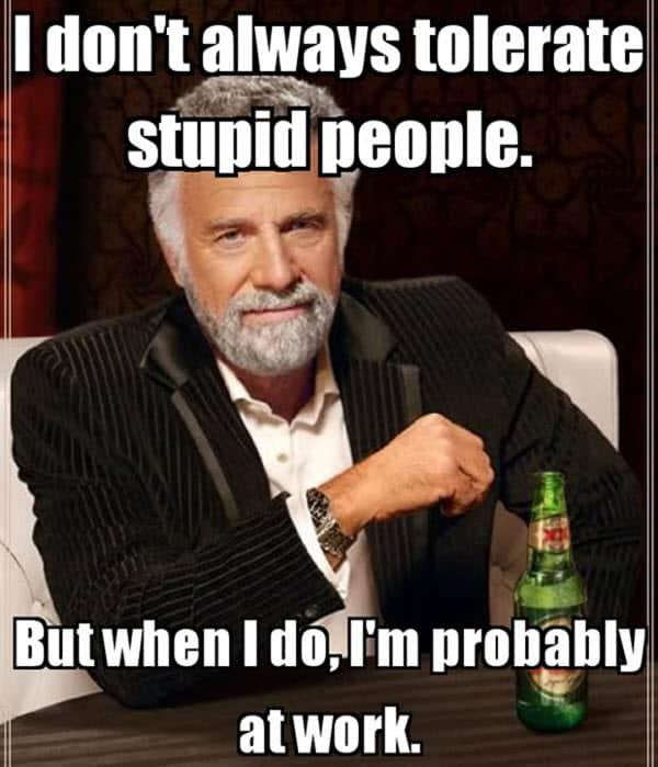 hate work tolerate stupid people meme
