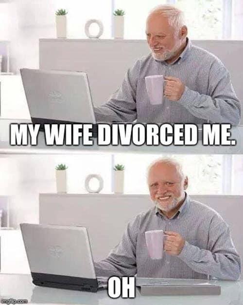 hide the pain harold divorce meme
