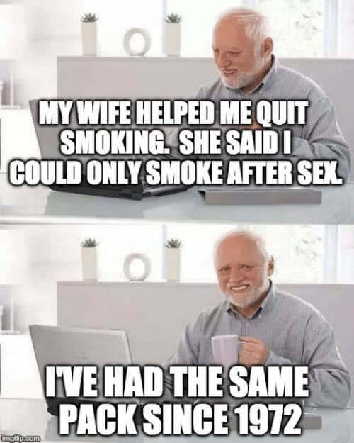 hide the pain harold quit smoking meme