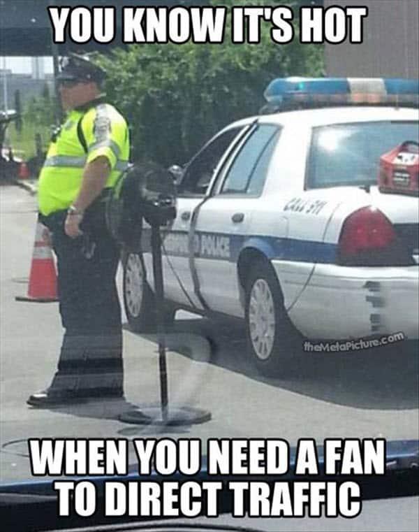 hot weather fan meme