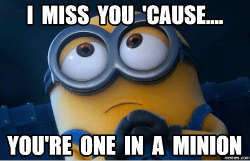 i miss you one in a minion memes