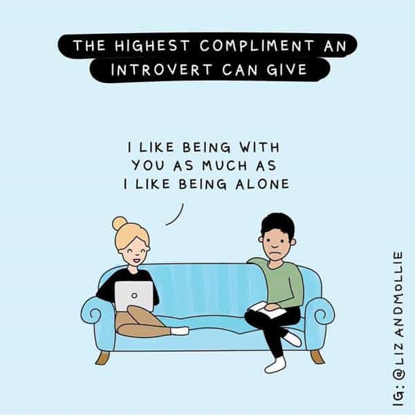 introvert highest compliment meme