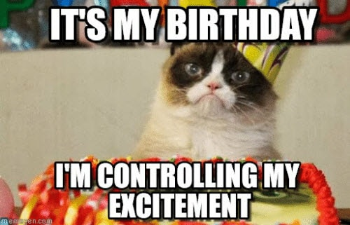 its my birthday im controlling my excitement meme
