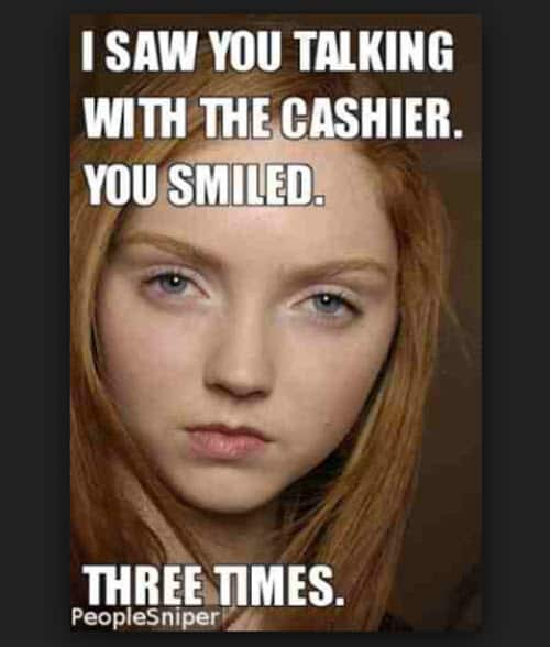 jealous talking with the cashier meme