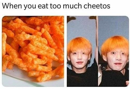 jungkook eattoo much cheetos meme