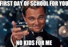 leonardo dicarpio cheers for first day of school meme
