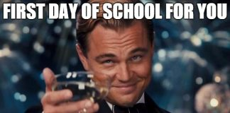 leonardo dicarpio cheers for first day of school meme