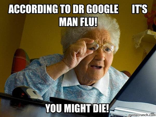 man flu according to dr google meme