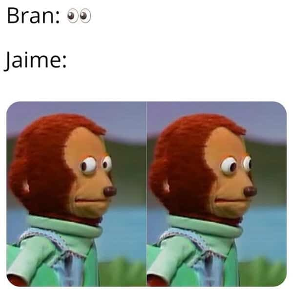 monkey puppet bran meme