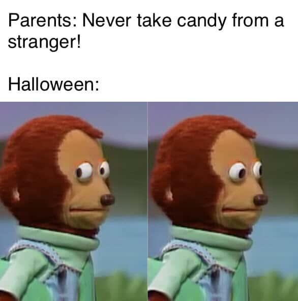 monkey puppet halloween meme