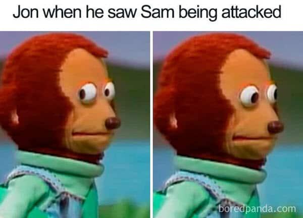 monkey puppet jon snow meme