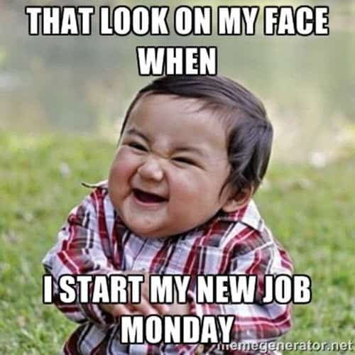 new job monday meme