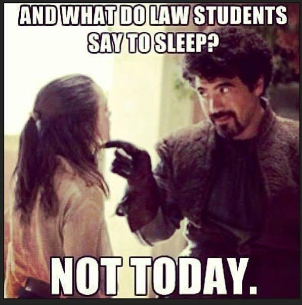 no sleep law students meme