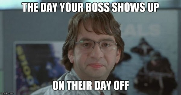 office space boss shows up meme