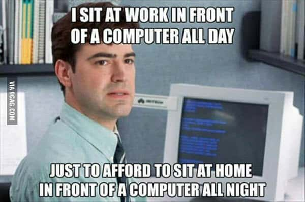 office space i sit in front of computer meme