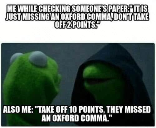 oxford comma evil kermit meme