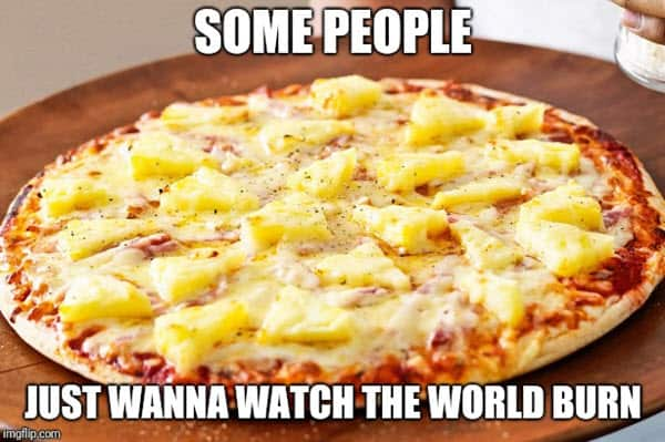 pizza with pineapple just wanna watch the world to burn meme