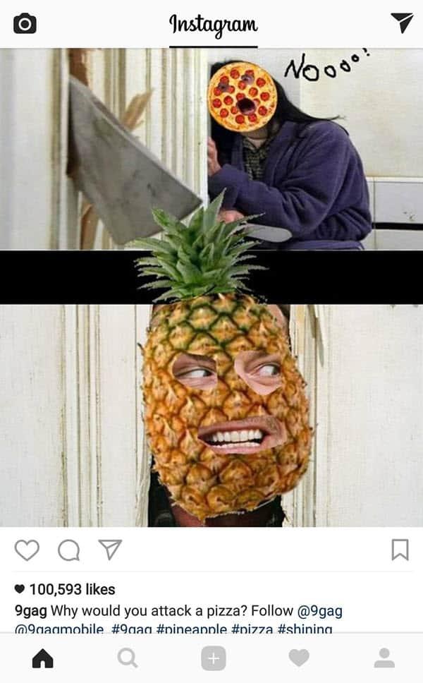 pizza with pineapple nooo meme