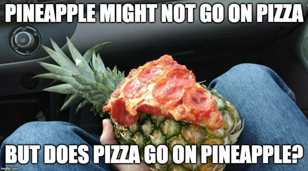 pizza with pineapple or reverse meme