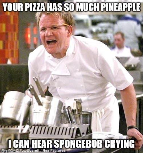 pizza with pineapple spongebob crying meme