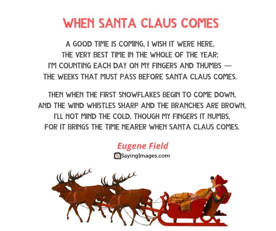 short christmas poems when santa claus comes
