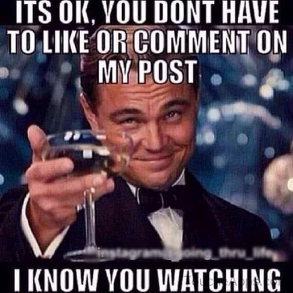 stalking like or comment meme