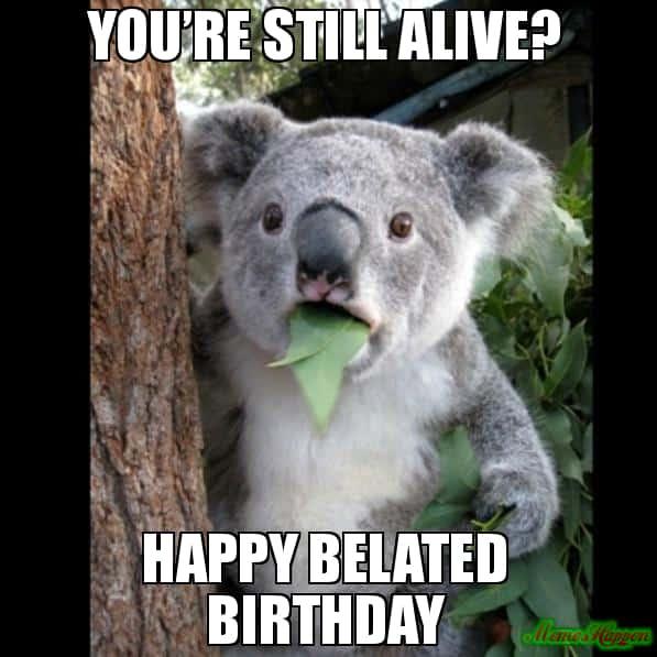 still alive happy belated birthday meme