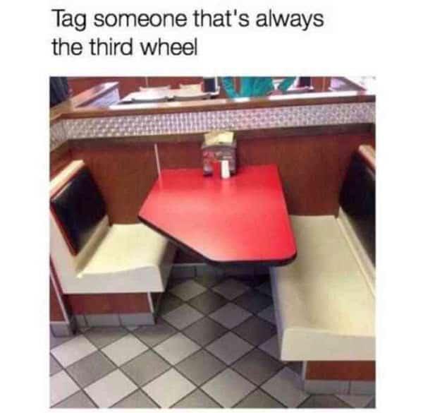 third wheel tag someone meme