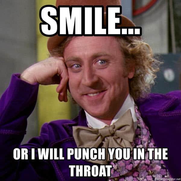 throat punch smile meme