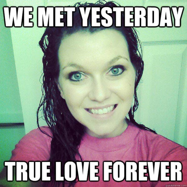 true love we met yesterday meme