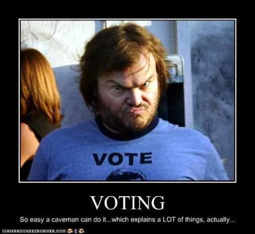 voting caveman meme