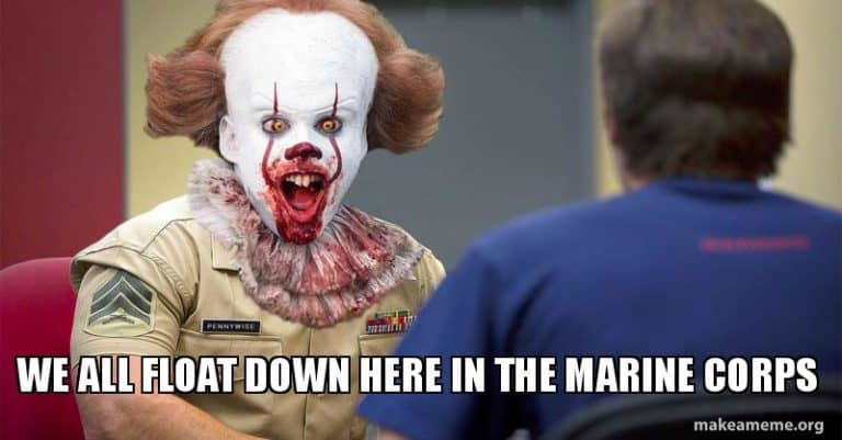 we all float here in the marine corps memes