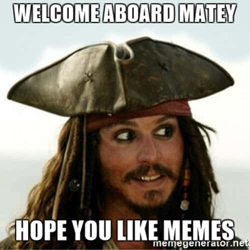 welcome matey meme