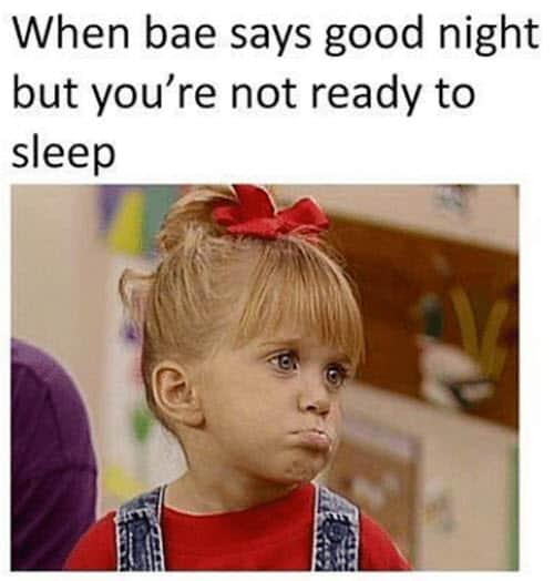when bae says goodnight meme