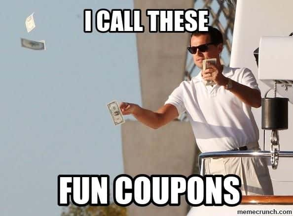 wolf of wall street fun coupons meme